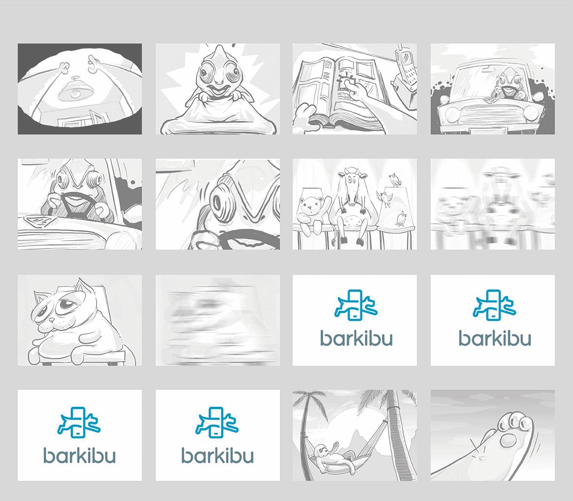 Storyboard del vídeo de animación Barkibu